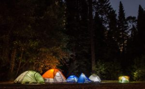 campers in their tents