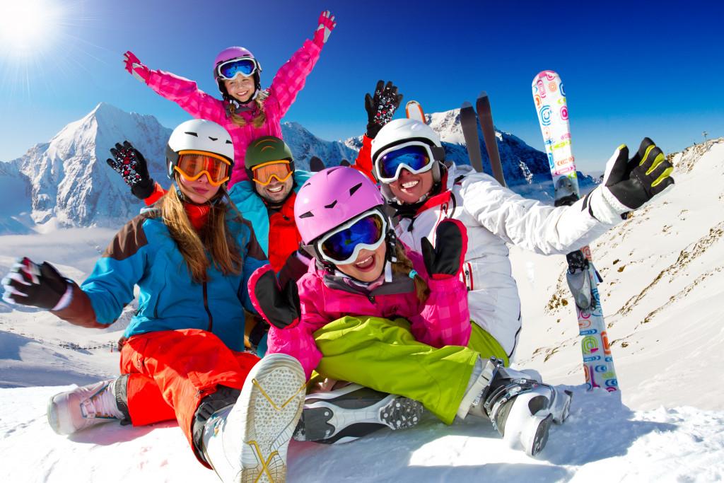 family skiing vacation